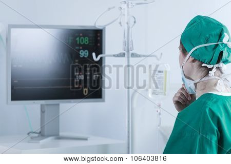 Surgeon Analysing Bodily Functions