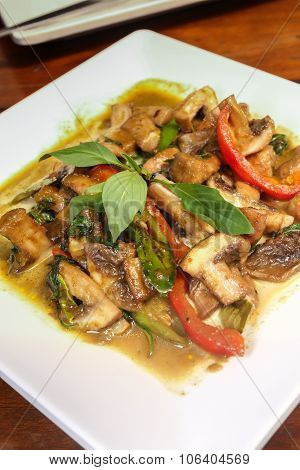 Thai Vegetarian Food Shiitake Mushrooms With Green Curry.