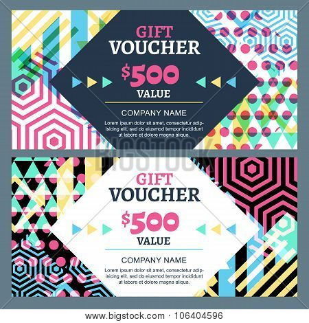 Vector Gift Voucher With Colorful Geometric Pattern And Square Frame.