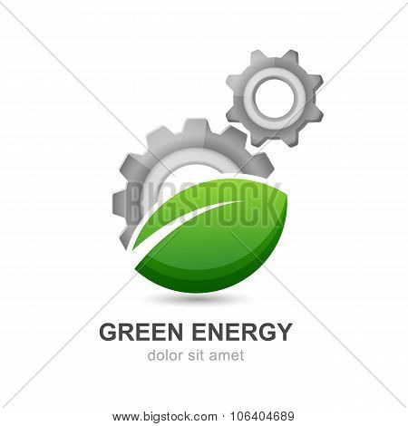 Illustration Of Green Leaf With Silver Gears Cogs.