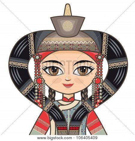 The girl in Buryat dress. Portrait, avatar