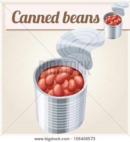 Canned beans. Detailed Vector Icon