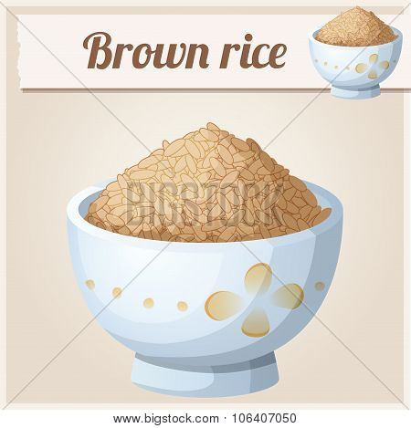 Bowl of brown rice. Detailed Vector Icon
