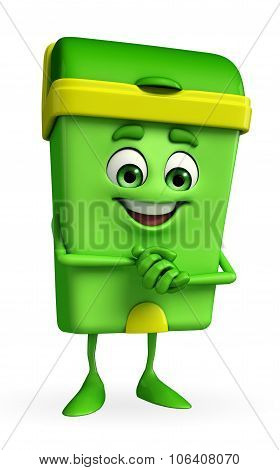 Dustbin Character With Promise Pose