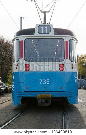 One Blue Tramcar In Sweden