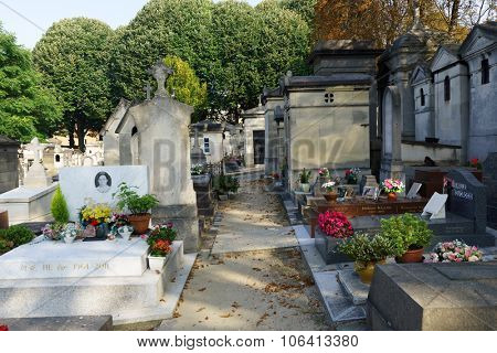 PARIS, FRANCE - SEPTEMBER 08, 2014: View of Pere Lachaise Cemetery. Pere Lachaise Cemetery is the largest cemetery in the city of Paris