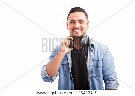 Handsome Deejay With Headphones