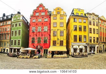Stortorget place in Gamla stan, Stockholm, Sweden.