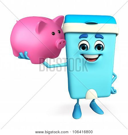 Dustbin Character With Piggy Bank