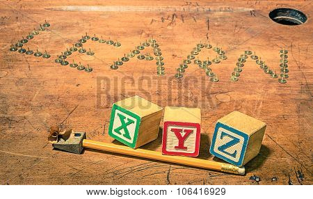 Vintage School Desk With Composition Of Pencil Penknife And Baby Cubes Letters - Concept Of Studying