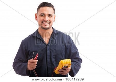 Happy Young Hispanic Electrician