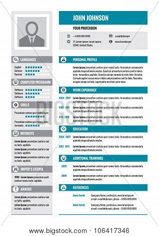 Resume - CV - vector concept layout in A4 format. Business resume - vector template. Modern resume.