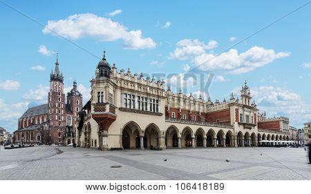 Saint Mary Basilica and Main Square in Krakow. Poland. 6 May 2015.