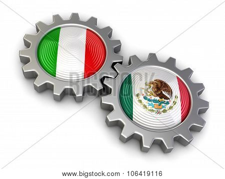 Italian and Mexican flags on a gears (clipping path included)