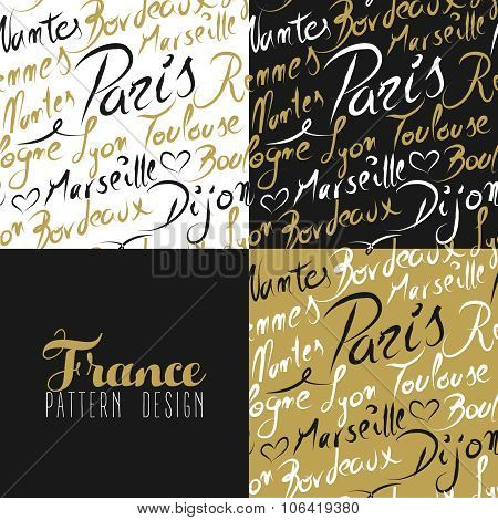 France Travel Love City Seamless Pattern Gold Text