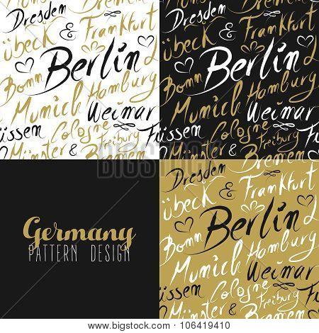 Travel Germany Europe Berlin Seamless Pattern Gold