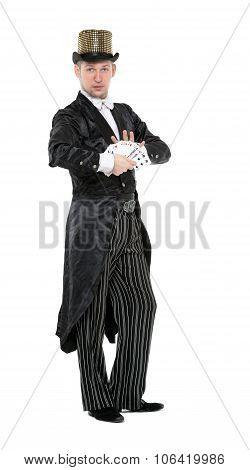 Illusionist Shows Tricks with Playing Card on white background poster