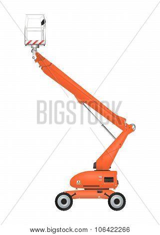 Orange telescopic boom lift on the white background. Raster poster