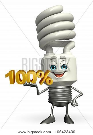 CFL Light Bulb Character With Percent Sign