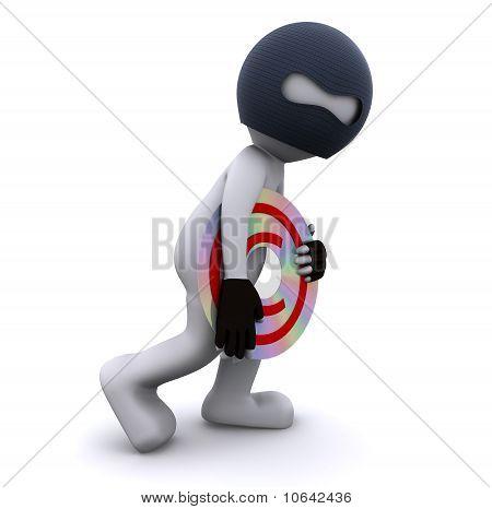 3D Character Stealing Cd. Data Piracy Concept