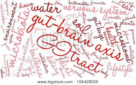 Gut-Brain Axis word cloud on a white background. poster