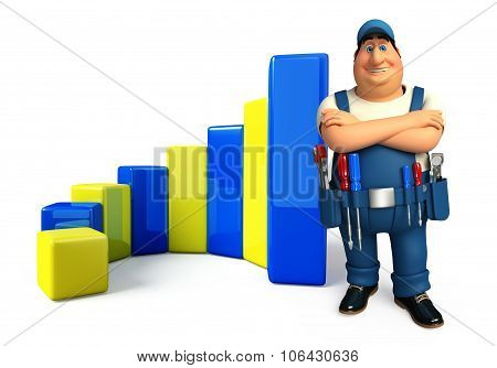 Young Plumber With Business Graph
