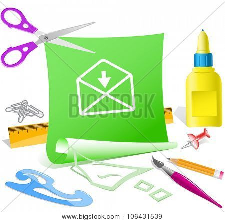 mail downarrow. Paper template. Raster illustration.