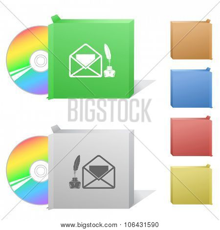 mail with feather and inkstand. Box with compact disc. Raster illustration. poster