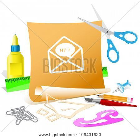 open mail with chat. Paper template. Raster illustration.