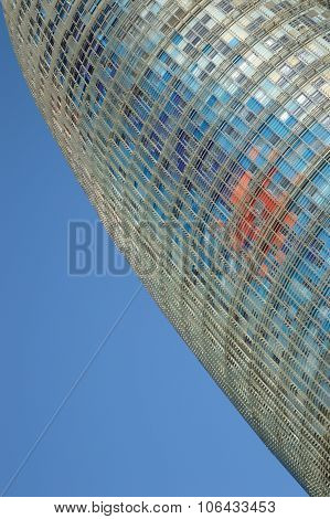 The modern Agbar Tower building in Barcelona, with a empty copy space for editor's text.