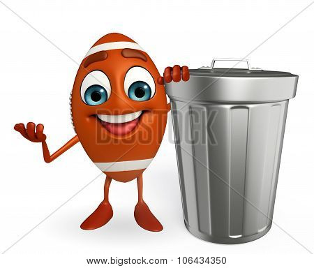 Rubgy Ball Character With Dustbin
