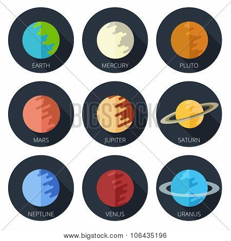 set of the nine planets of the solar system in a cartoon style flat icon on round background. Mars, Earth, Jupiter, Venus, Saturn, Neptune poster