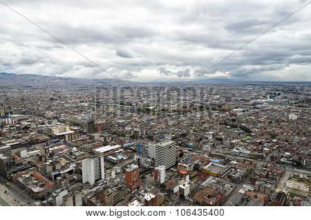 Aerial View To Bogota And Suidad Bolivarunder Tragic Rainy Sky
