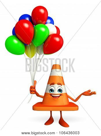 Construction Cone Character With Balloons