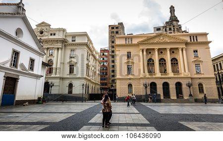 SAO PAULO, BRAZIL - CIRCA JUNE 2015: Padre Manuel da Nobrega Square in Sao Paulo, Brazil