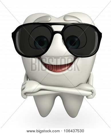 Teeth Character With Sun Glasses