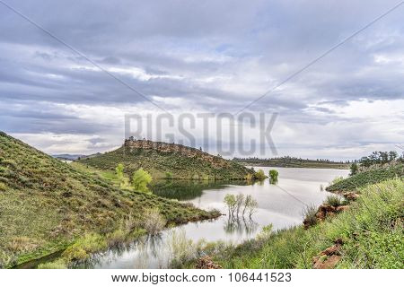 mountain lake at springtime with high water level - Horsetooth Reservoir near Fort Collins, Colorado