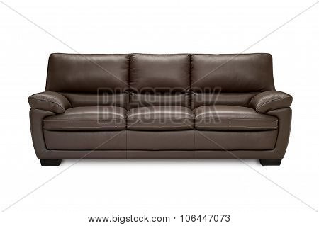 Luxury Leatherbrown  Sofa Isolated On White Background