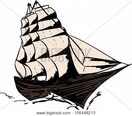 Isolated Clipper Ship