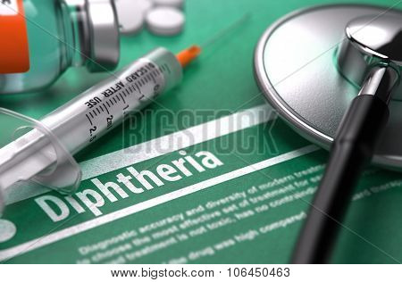 Diphtheria. Medical Concept on Green Background.