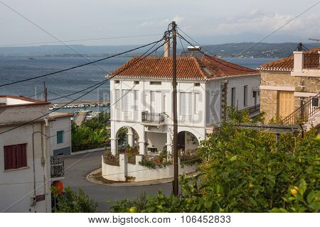 PYLOS, GREECE - OCT 6, 2014: View of the island. Pylos has a long history, In Classical times, the site was uninhabited, but became the site of the Battle of Pylos in 425 BC, during Peloponnesian War.
