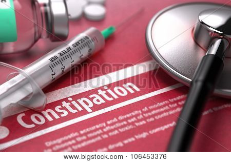 Constipation. Medical Concept on Red Background.