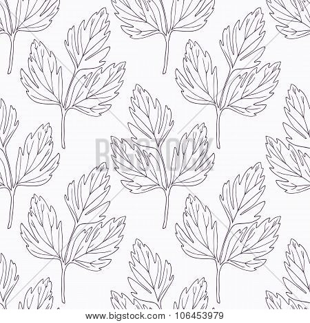 Hand drawn lovage branch outline seamless pattern