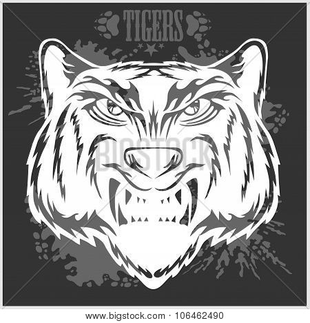 Tigers head in vintage style.