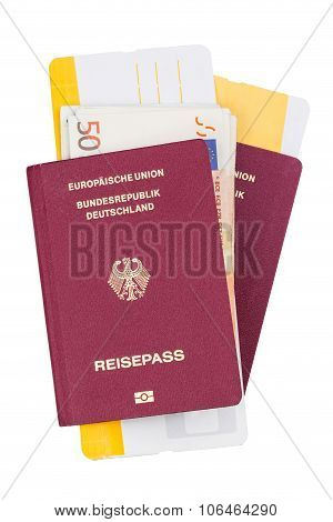 Airline tickets and travel passport of german over white background poster