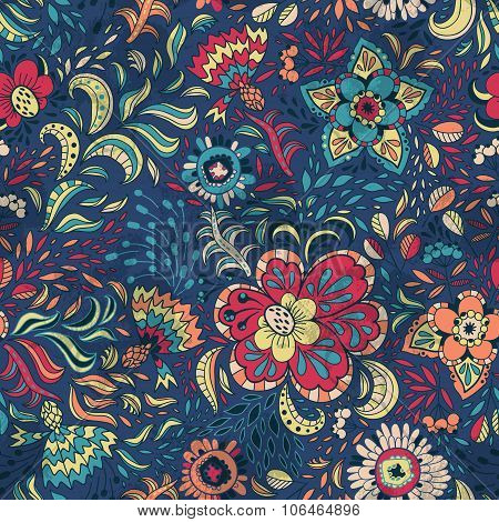Seamless Retro Floral Pattern With Abstract Flowers.
