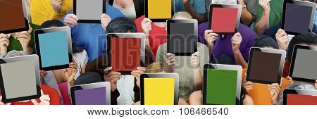Diverse Group People Holding Tablet Faces Anonymous Concept