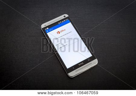 Microsoft Office app on screen of a mobile smartphone.