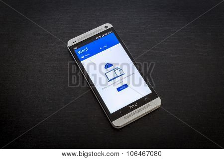 Microsoft Word app on screen of a mobile smartphone.