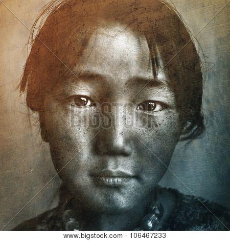Mongolian Girl Portrait Drawimg Retro Concept